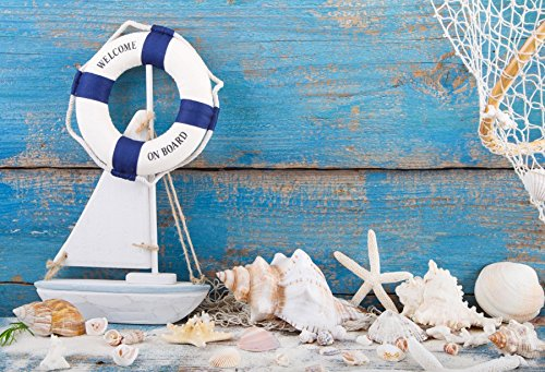 Yeele Navigation Photo Backdrop 5x3ft Nautical Photography Background Sea Blue Wooden Floor Lifebuoy Fishing Net Starfish Pictures Baby Adult Artistic Portrait Photoshoot Props - Ocean Weathered Nautical Sign