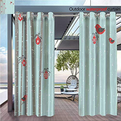 DESPKON Active Printing Fabric Polyester Material Cute Red Birdsating Tree Snowy New Year Inspirati Soft Color for Outdoor Wedding W96 x L108 INCH