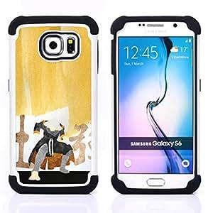 GIFT CHOICE / Defensor Cubierta de protección completa Flexible TPU Silicona + Duro PC Estuche protector Cáscara Funda Caso / Combo Case for Samsung Galaxy S6 SM-G920 // Samurai Painting //