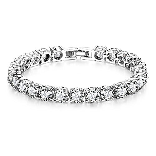 Mytys Silver Plated CZ Cubic Zirconia Tennis Bracelet Crystal Bangle for Teen Little Girls Length:17 cm/6.7 inches
