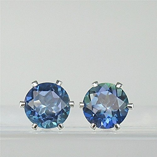 c Topaz 7mm Natural Gemstone Sterling Silver Stud Earrings ()