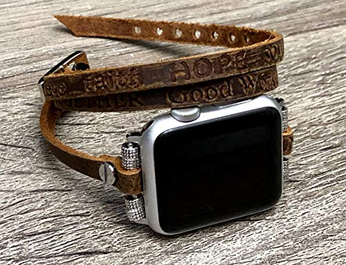 Artisan Brown Leather Bracelet For Apple Watch All Series 38mm 40mm 42mm 44mm Handmade Multi Wrap Adjustable Size Strap Apple iWatch Band Embossed Inspirational Words Apple Watch Bracelet ()