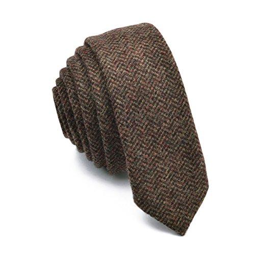 BOTVELA Mens Necktie Skinny Tie Tweed Pattern Woolen Neck Tie (Mens Tweed)
