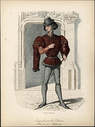 Costumes Century French - Young French nobleman of the 16th century c.1875 antique ethnic costume print