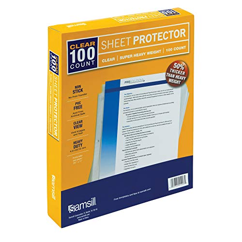 Samsill 100 Clear Super Heavyweight Sheet Protectors, 4.7 MIL Thickness, Top Loading Page Protectors, Reinforced 3 Hole Design, Holds 10+ Sheets, Archival Safe/Acid Free, Box of 100