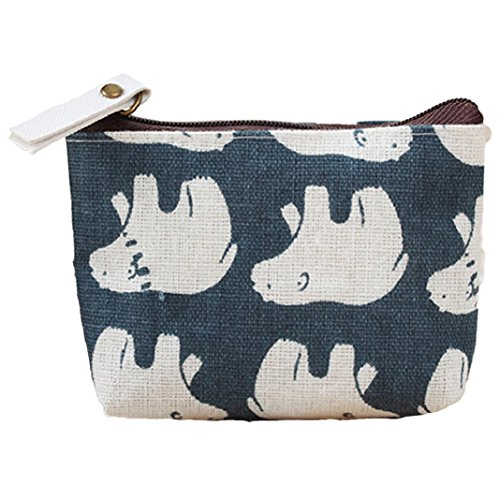 (Polytree Printed Canvas Change Coin Purse Holder Zip Mini Wallet - 3)
