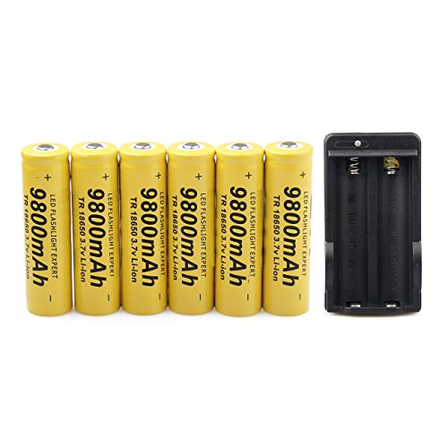 6PCS 3.7V 9800mAh 18650 Batteries Rechargeable Li-ion Battery and Universal Charger