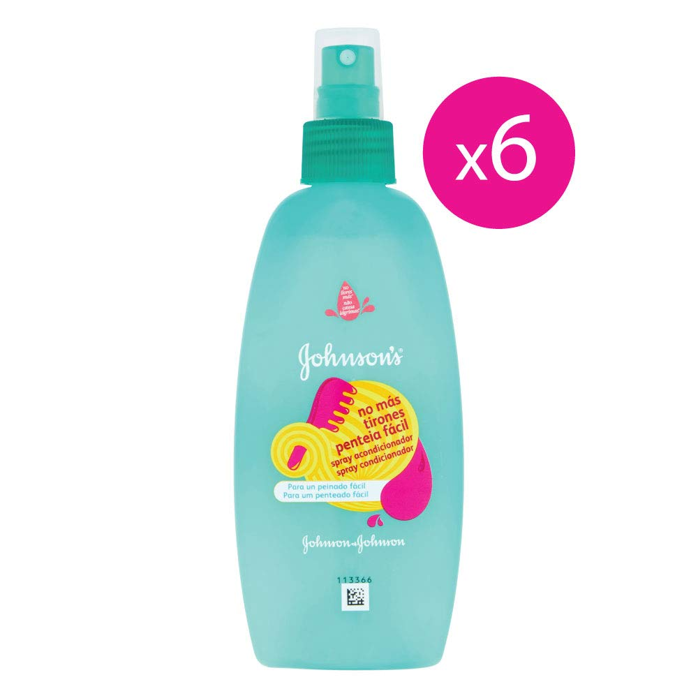 Johnson's Baby - Acondicionador en Spray no mas Tirones para Bebe - 6 Recipientes de 200 ml - [Total: 1200 ml] Johnson & Johnson 91780