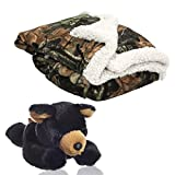 Baby Infant Camo and White Accent Soft Sherpa and Plushed Lined Coral Fleece Gift Blanket and Black Bear Set