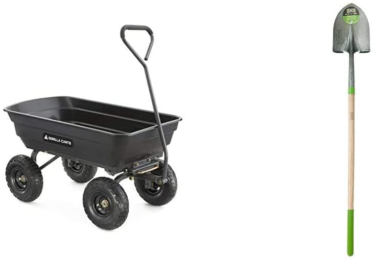 Gorilla Carts GOR4PS Poly Garden Dump Cart with Steel Frame and 10-in. Pneumatic Tires, 600-Pound Capacity, Black & AMES 2535600 Tempered Steel Digging Shovel with Hardwood Handle, 60-Inch