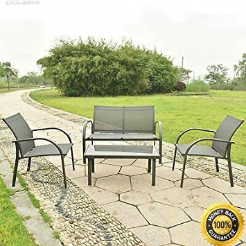 COLIBROX   4PCS Patio Garden Furniture Set Steel Frame Outdoor Lawn Sofa  Chairs Table Gray