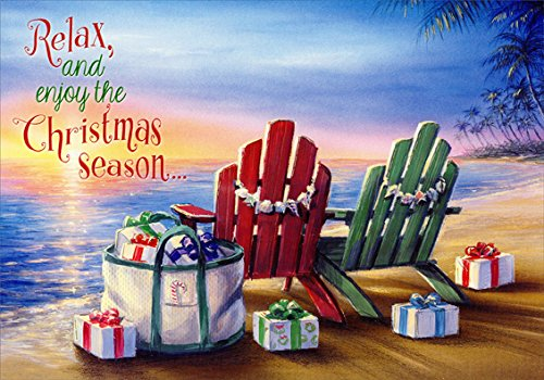 Price comparison product image Red Farm Studios Adirondack Chairs and Gifts on Beach Box of 18 Coastal Christmas Cards