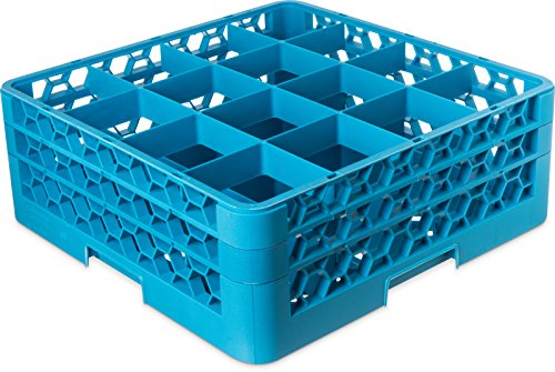 "Carlisle RG16-214 OptiClean 16 Compartment Glass Rack with 2 Extenders, 4-7/16"" Compartments, Blue (Pack of 3)"