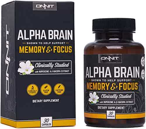 Onnit Alpha BRAIN® | Flagship Memory, Focus, and Mental Clarity Supplement | Clinically Studied Nootropic Supporting Optimal Brainwave Function and Processing Speed (30ct)