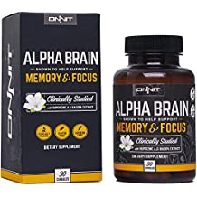 Onnit Alpha Brain (30ct) Nootropic Brain Booster Supplement For Memory, Focus, and Mental Clarity with Bacopa, AC11, Huperzine A, L-Tyrosine, and Vitamin B6