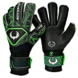 Renegade GK Triton Raider Fingersave Goalie Gloves Size 7 with Wrist Support & Sticky German Latex (Black & Green)
