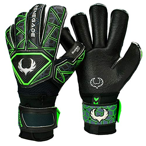 Renegade GK Triton Raider Roll Cut Level 2 Mens & Womens Goalie Gloves with Fingersaves - Fingersave Goalkeeper Gloves Soccer - Goalie Gloves Size 11 Black & Green