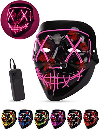Halloween Devil Mask (AnanBros Scary LED Halloween Mask, Masquerade Cosplay Light Up Face Mask for Men Women Kids)