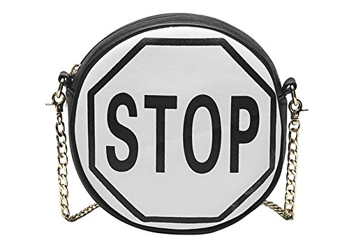 Melie Bianco Traffic Sign Cross Body Bags Purse Handbag (STOP/White/Black ) ()