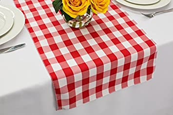 Zhen Linen Polyester Wedding Table Runner 14 X 72 Red And White Gingham