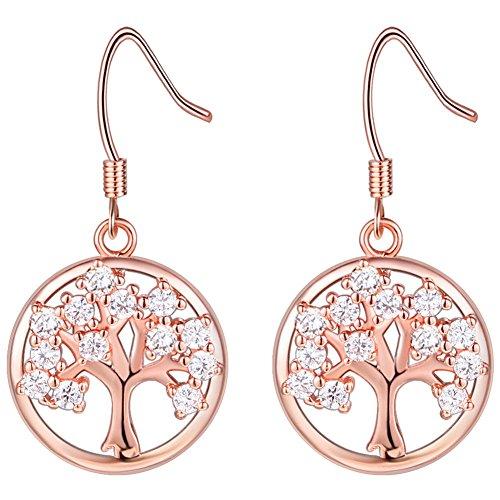 10KT Rose Gold Tree of Life Pendant White Cz Rose Peridot Chakra Crystal Earring Gemstone Jewelry Great Gifts