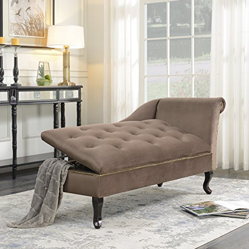 (Belleze Velveteen Tufted Open Fold Spa Chaise Lounge Chair Couch Cushion for Living Room Nailhead Trim with Storage, Brown)