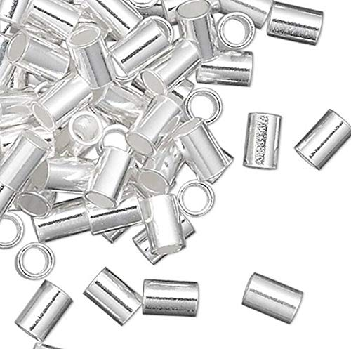 100 Sterling Silver 3X2Mm Seamless Tube Crimp Beads with 1.3Mm Id by Braides