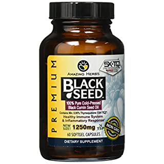 Amazing Herbs Premium Black Seed Oil Soft-Gels, 60 Count (Pack of 1)