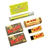 Raw Black Natural Unrefined Single Wide Rolling Papers Bundle with Rolling Machine, Tips, Doob Tube and Dank Paper Scoop Card