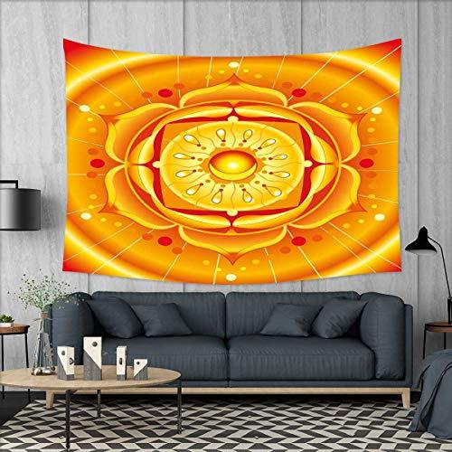 smallbeefly Lotus Tapestry Table Cover Bedspread Beach Towel Chakra Mandala Circular Journey Energetic Body Zen Life Symbol Healing Artsy Image Dorm Decor 71