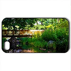 Bridging - Case Cover for iPhone 4 and 4s (Bridges Series, Watercolor style, Black)