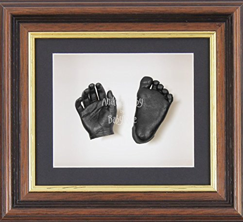 BabyRice 3D Baby Boy Casting Kit Mahogany Gold Effect Frame Pewter Foot Casts