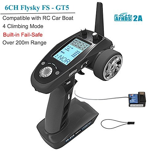 Flysky FS-GT5 6CH RC Transmitter with FS BS6 Receiver , 2.4Ghz AFHDS 2A Protocol Transmitter and Receiver for RC Car Boat ect ( Failsafe Function + 200m Range + Great (2.4 Ghz Rc Transmitter)