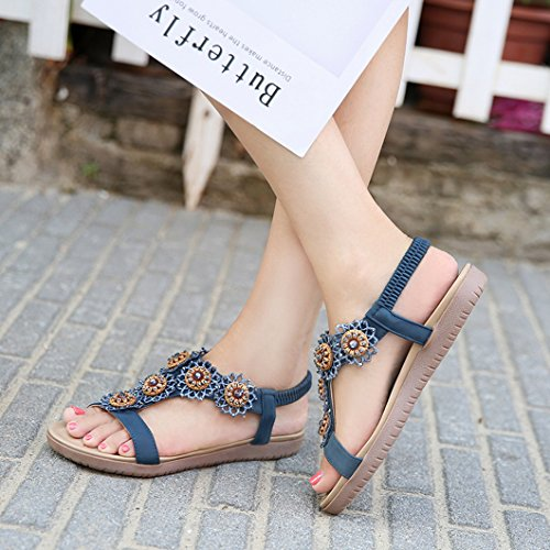 Evedaily Toe Round Elastic Shoes Sandals Rhinestone Bohemian Walking Open Womens Roman Blue Band Flower Flat Heeled rAIXr