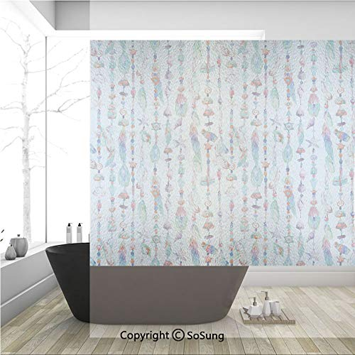 3D Decorative Privacy Window Films,Marine Accessory Chains Pendants Mineral Stones Shells Beads Watercolor Style Art Decorative,No-Glue Self Static Cling Glass film for Home Bedroom Bathroom Kitchen O