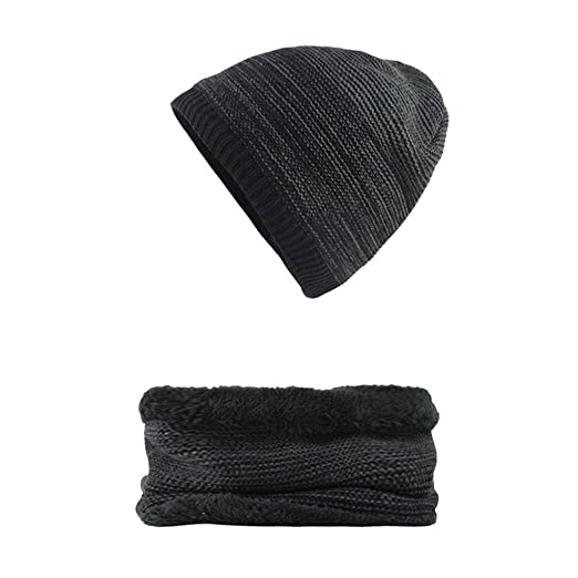 Amazon.com  Voberry  2-Pieces Winter Warm Beanie Hat Scarf Set Knit Hat  Thick Fleece Lined Cap   Neck Warmer Scarf for Men Women  Clothing 04362aa4041e