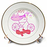 3dRose RinaPiro - Kids - Twins. Girls. Baby shower. Announcement. Cute picture. - 8 inch Porcelain Plate (cp_261340_1)