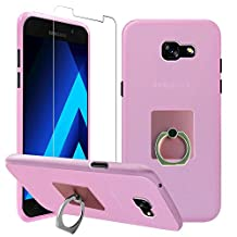 Gzerma Samsung Galaxy A5 2017 Case with Screen Protector + Ring Stand, Slim TPU Silicone Bumper Cover, 360 Grip Holder, Clear Shatterproof Guard Film (Not Tempered Glass) for Samsung A5 2017, Pink