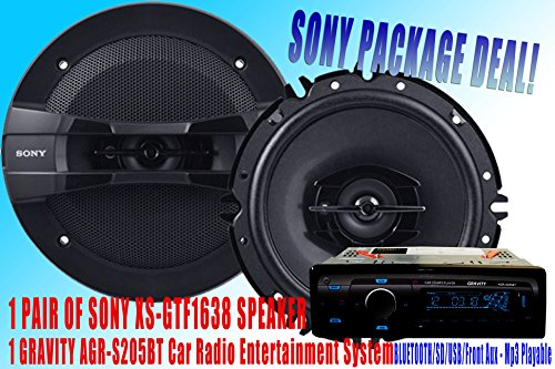 "SONY Package Deal! 1 Pair Sony 6.5"" XS-GTF1638 Car Speaker + 300W GRAVITY AGR-S205BT Car Stereo Receiver - Built-in BLUETOOTH/SD/USB/Front Aux - Mp3 Playable"
