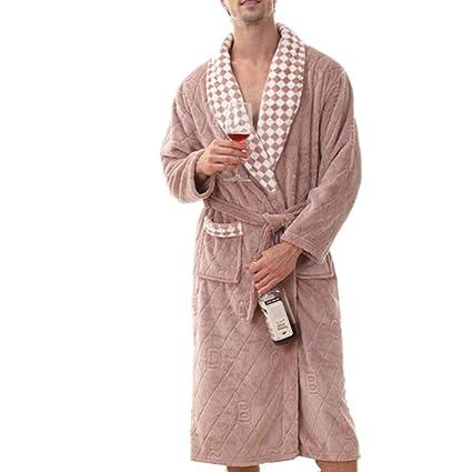 c23a8a6449 da Uomo, Lunghezza Intera Pile Accappatoio Plus Dimensioni Super Morbido,  Caldo Peluche Inverno Sleepwear