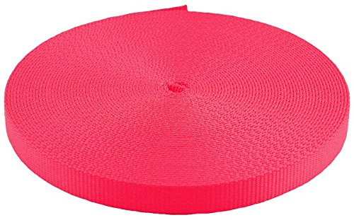 5/8 Inch Neon Pink Heavy Plus Nylon Webbing Closeout, 20 Yards