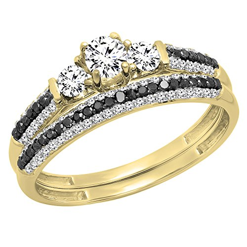 Dazzlingrock Collection 10K White Sapphire, Black & White Diamond 3 Stone Bridal Engagement Ring Set, Yellow Gold, Size 8 3 Stone Diamond Engagement Setting