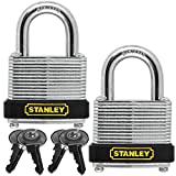"Stanley 2 Pack Laminated Zinc Plated Steel Padlocks & Keys Set Small 30MM 1-3/16"""