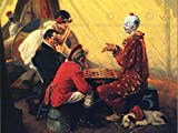 PAINTING PORTRAIT CHECKERS DRAUGHTS CLOWN CIRCUS USA ART PRINT CC794