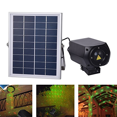 Efree Solar Lights, Outdoor Solar Projector Lights Red/Green Star Lights Laser Light Waterproof, Remote Control, Timer for Holiday Party Garden Halloween Decoration Christmas Xmas Hallow