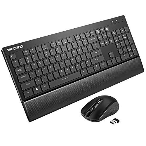 VicTsing Wireless Keyboard and Mouse Combo, Ultra-Thin Wireless Keyboard with Palm Rest, 2.4GHz Mouse and Keyboard, Long Battery Life, for PC Desktop Laptop Windows XP/7/8/10, Black