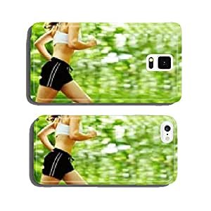 Beautiful young woman runner in a green forest. cell phone cover case iPhone6 Plus