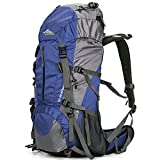 Loowoko Hiking Backpack 50L Travel Daypack Waterproof with Rain Cover for Climbing Camping Mountaineering (Blue)