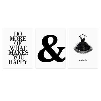 Photolini 3er Set Design Poster 30x40 Cm Schwarz Weiss Motive Typographie Dekoration Modern