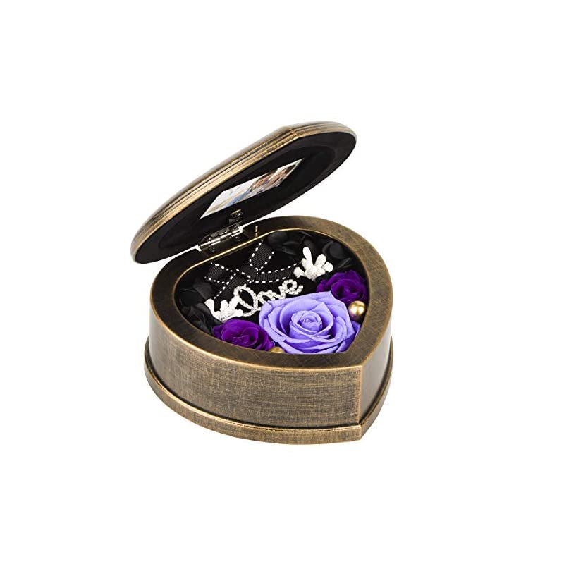 silk flower arrangements neaticoo valentines music box, handmade preserved flower real rose in heart shaped musical box,gift for her,women on mother's day,valentine's day,birthday or anniversary purple rose
